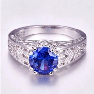 Jewelry - Size 9 925 Stamped Sterling Silver Tanzanite Ring